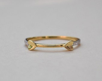 Gold Ring With Round Diamonds | Tiny Heart Design 14K Yellow Gold Ring | Anniversary Ring | Birthday Ring | Graduation Gift |Free Shipping