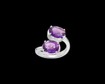 925 Sterling Silver Adjustable Ring With Gemstones | Gift For Women | Rhodium Plated Silver Ring | Gift For Graduation | Free Shipping |