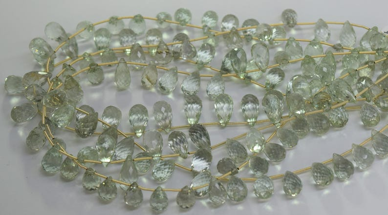 Green Amethyst Faceted Drop Shaped Bead