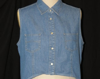 Women's custom vintage denim shirt with open back - Size small- medium