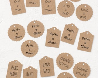 """24 Kraft Paper Tags with  """"hand made"""" text or """"Fatto a Mano""""-Gift Enclosure-Wrapping Idea-Scrapbooking-Decoration-Gift-Tags-Rustic Tags"""