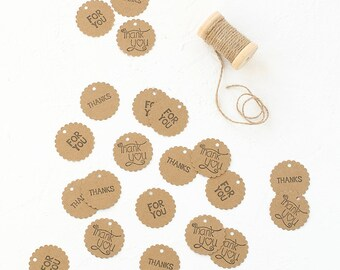 24 Kraft Paper Circle Scalloped Tags with text- For You-Thanks-Thank You-Gift Enclosure-Wrapping Idea-Envelope-Rubber Stamp-Vintage-Gift