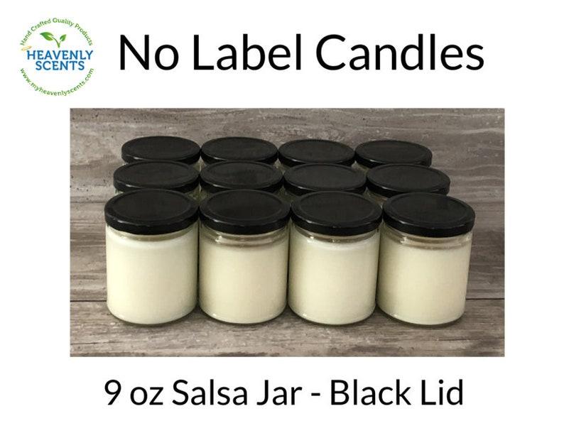Salsa Jar  No Label Candles  Black Lid  Soy Wax  12 pack  image 1