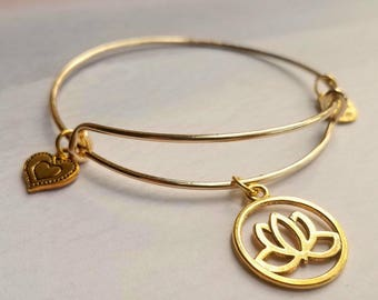 Lotus Bangle Bracelet, personalized jewelry for mom, Inspirational bracelet, personalized  from daughter, personalized gift
