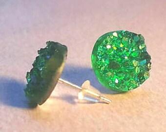 Druzy Earrings, druzy earring studs, druzy jewelry, geode earrings, best friend gift, graduation sorority, green earrings, statement jewelry