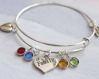 Family Tree Bangle bracelet, Personalized Mothers day gift for grandma, mother gift from daughter, mothers day bracelet personalized