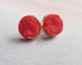 Druzy Earrings, druzy earring studs, druzy jewelry, geode earrings, best friend gift, graduation sorority, red earrings, statement jewelry