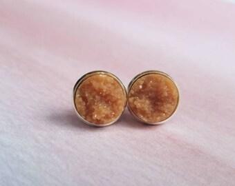 Druzy Earrings, druzy earring studs, druzy jewelry, geode earrings, best friend gift, graduation sorority, brown earrings, statement jewelry