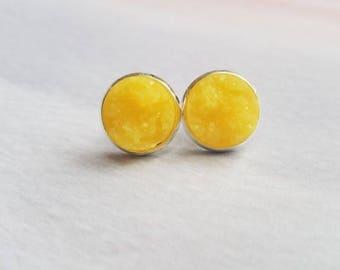 Druzy Earrings, druzy earring studs, druzy jewelry, geode earring, best friend gift, graduation sorority, yellow earrings, statement jewelry