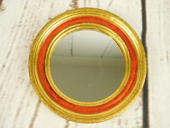 Small Round Florentine Vanghi Florence Italy Mirror Gold Red 5 Etsy