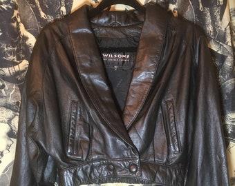 LEATHER 90's Vintage Black DEATHROCK Waist Jacket GOTH Batwing Sleeve Sml/ Med