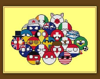 Customizable Polandball Cross Stitch Pattern Countryball Meme Reddit Nerdy