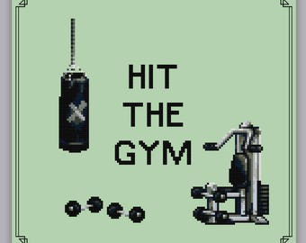 Hit The Gym Cross Stitch Pattern Modern Work Out Weightlifting