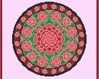Rose Mandala Cross Stitch Pattern Garden Flower Circle Bouquet