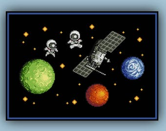 Space Station Cross Stitch Pattern Nerdy Science Astronaut Satellite and Planets