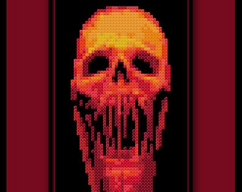 Bloody Skull Cross Stitch Pattern Halloween
