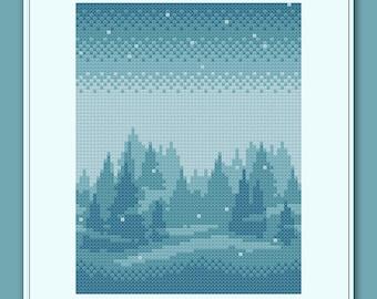 Snowy Forest Cross Stitch Pattern Winter Wonderland Snow Pine Trees Christmas