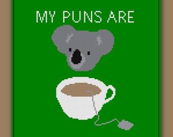 Koala Cross Stitch Pattern Quality Pun Koala Tea Funny