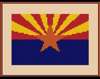 Arizona Flag Cross Stitch Pattern Simple USA United States