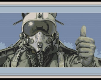 Pilot Cross Stitch Pattern Flying Fighter Jet US Airforce Military Airplane