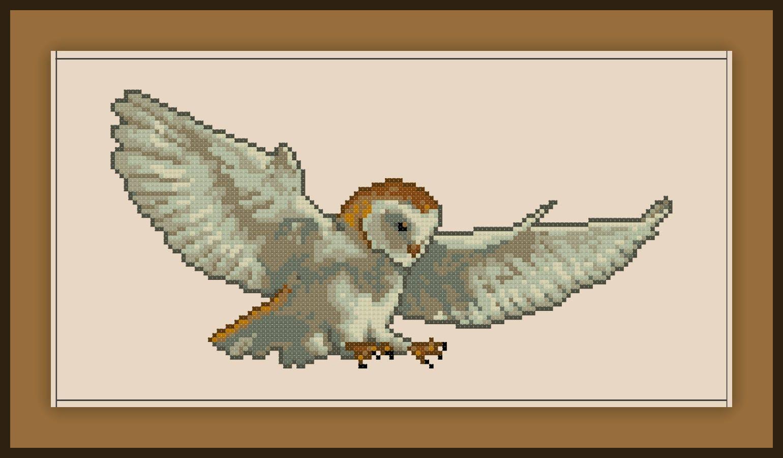 Barn Owl Cross Stitch Pattern Realistic Bird Etsy