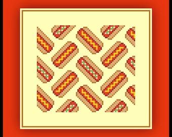 Hot Dog Cross Stitch Pattern Small Tileable Repeating Hotdog Chart