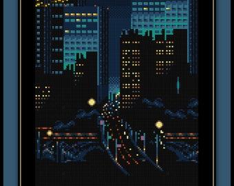 Night Highway Cross Stitch Pattern New York City Freeway Street Bridge