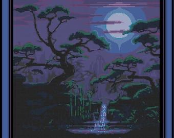 Japanese Moonlit Spring Cross Stitch Pattern Asian River Forest Landscape