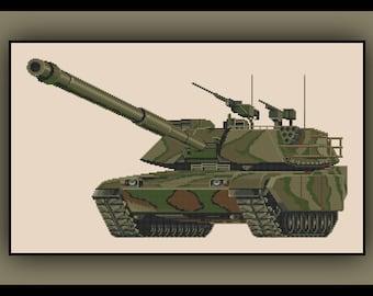 Military Tank Cross Stitch Pattern Army Marines Camo Camouflage