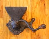 antique B. Swift 1845 Patent wall mount cast iron coffee grinder w wood handle crank