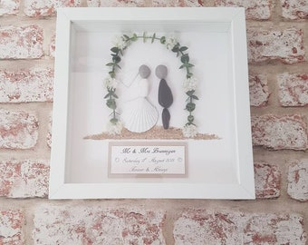 a815c6398cc6b6 Personalised wedding pebble art picture