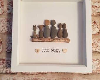 Handmade personalised pebble art family frame