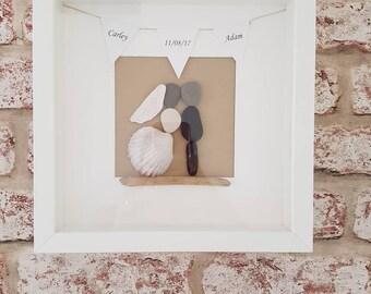 Personalised wedding pebble art