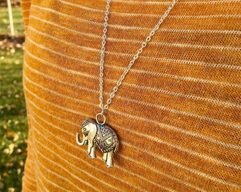 Elephant Necklace, Silver Elephant Necklace, Trendy Elephant Necklace, Elephant Layering Necklace, Bridesmaid Necklace, Gift for Her