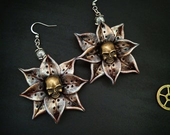 large choker honeymoon surprise jewelry necklace antique bronze flowers purple crystals clockwork Steampunk gift for women Garden of Eden
