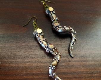 Steampunk brass earrings mechanical tentacles. Handmade Steampunk Jewelry