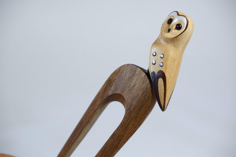 Bun holder church-owl haarforke gift bird Wooden Hairfork Owl bird Hair accessories for women Hair slide Womens gift