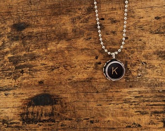 vintage typewriter necklace you choose letter authentic monogram necklace black letter necklace personalized gift personal jewelry