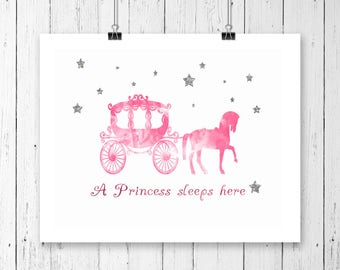 A Princess Sleeps Here Nursery Print
