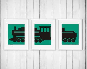 Customized Train Nursery Print | Set of 3 | Silhouette Art | Printable JPG | Train Print | Choose your own colors! | Gallery Wall | 046