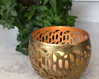 Gold Cutout Metal Votive - Candle Holder - Home or Office Decor - 2 sizes