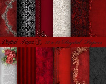 Red Digital Paper: Digital Red and Black Paper, Red and Black Digital Lace, Digital Patterns, Digital Scrapbook Paper, Backgrounds  P 14 LA