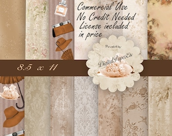 Commercial  Digital Paper, Vintage Fashion,  Fashion Digital Scrapbooking Paper, Matching Clip Art Available, Digital Paper Sale, P 157
