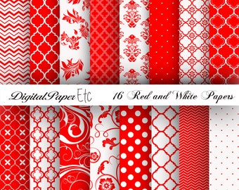 Red and White Digital Papers, Red Digital Paper Pack, Red and White Scrapbooking, Red and White, Red and White Printable Paper Pack, No P 30