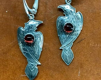 Perched Raven Earrings with Garnet