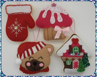 Set of Four Felt Christmas Ornaments, Gingerbread House, Brown Bear, Mitten, Cupcake, Hanging Felt Christmas Decoration