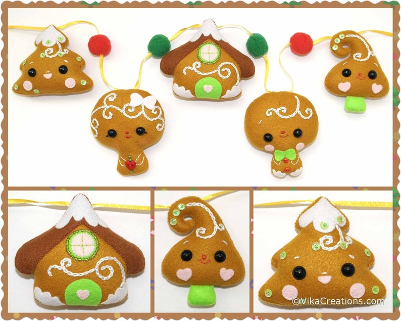 Girl Five Gingerbread Style Ornaments with Pompoms Boy Felt Christmas Tree Garland Ready To Ship House Xmas Tree Christmas Garland