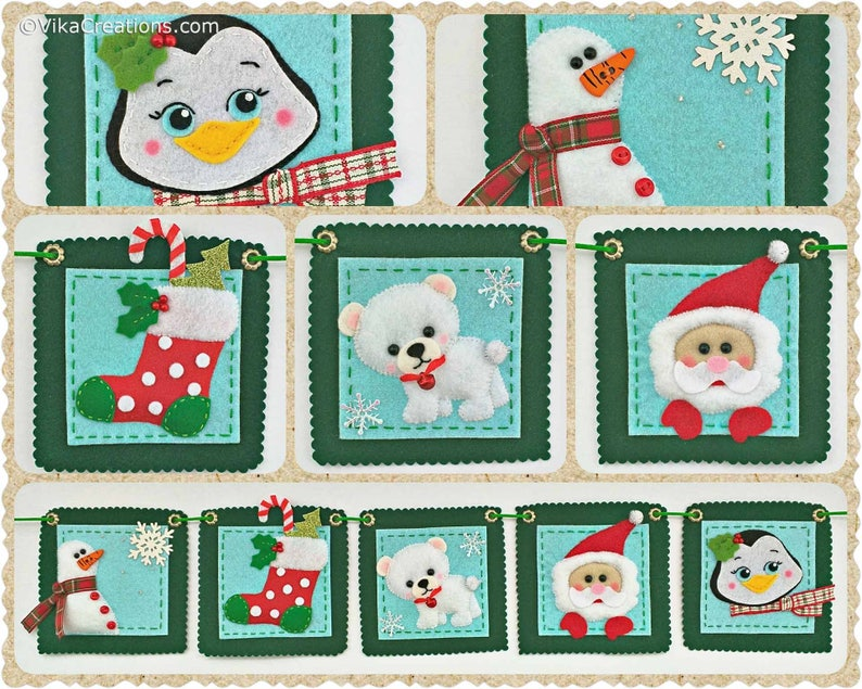 Handmade Felt Christmas Tree Ornament Felt Ornaments Five Christmas Ornaments Garland Xmas Home and Holiday Decorations