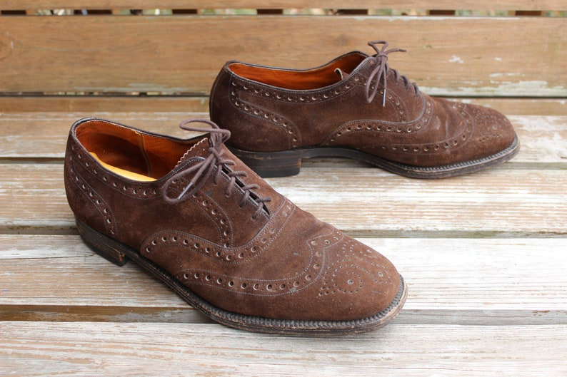 81e2973c01 Vintage Men's Shoes, Size 10.5 D/E, Dack's Bond Street Brown Suede Wingtip  Oxford, Made in England by Church's, Free Shipping!