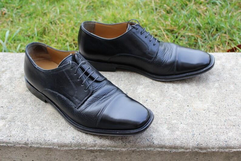 0a462789936 Vintage Johnston   Murphy Cap-toe Blucher Derby Oxford Black